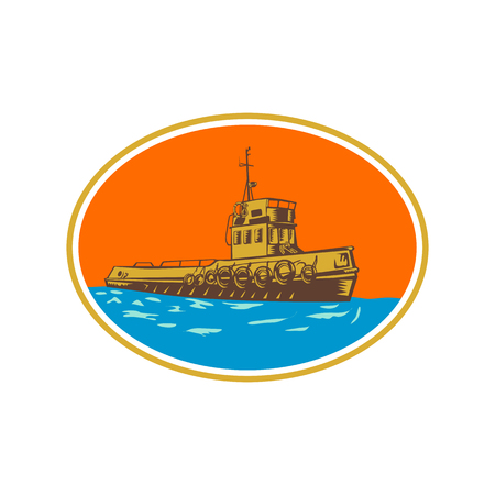 Illustration for Retro woodcut style illustration of tug, tugboat or towboat, a type of marine vessel that maneuvers other ship or boat by pushing pulling by direct contact or by tow line set inside oval shape. - Royalty Free Image