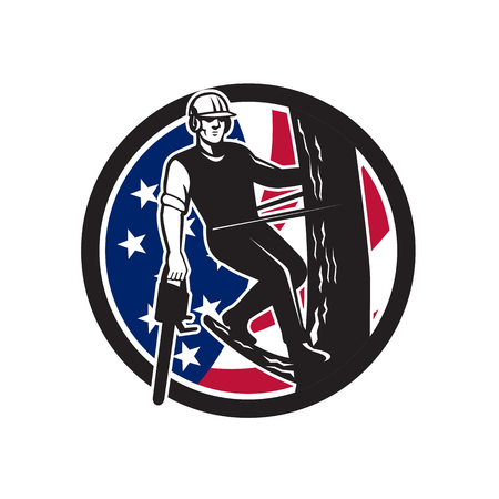 Illustration pour Icon retro style illustration of American tree surgeon, arborist, tree surgeon, arboriculturist, holding chainsaw United States of America USA star spangled banner stars and stripes flag in circle. - image libre de droit