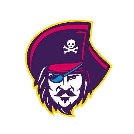 Ilustración de Mascot icon illustration of head of a privateer, corsair or pirate wearing a cocked or tricorne  tricon hat with eye patch viewed from front on isolated background in retro style. - Imagen libre de derechos