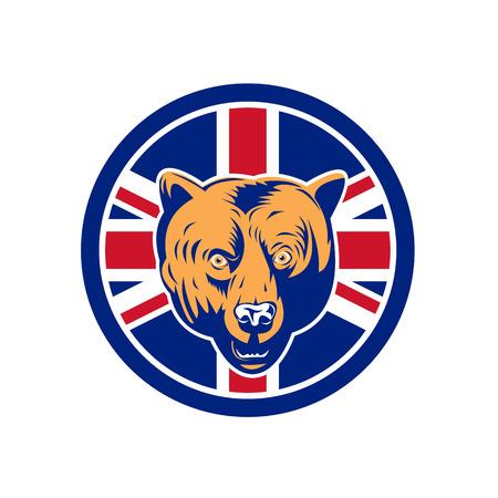 Ilustración de Icon retro style illustration of a British brown bear head with United Kingdom UK, Great Britain Union Jack flag set inside circle on isolated background. - Imagen libre de derechos