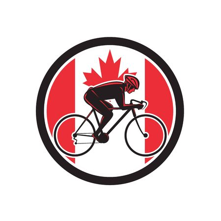 Illustrazione per Icon retro style illustration of a Canadian cyclist cycling riding a racing road bicycle viewed from side with Canada maple leaf flag set inside circle on isolated background. - Immagini Royalty Free