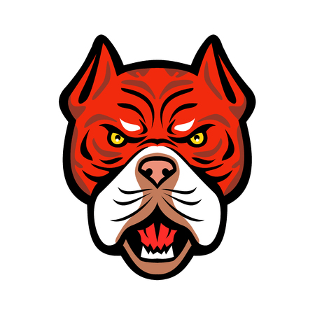Illustrazione per Mascot icon illustration of head of an angry Red Tiger Bulldog, an American dog breed with red nose viewed from front on isolated background in retro style. - Immagini Royalty Free