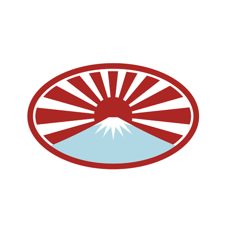 Ilustración de Icon retro style illustration of a snow capped mountain  that looks like Mount Fuji with Japanese rising sun in back set inside oval shape on isolated background. - Imagen libre de derechos