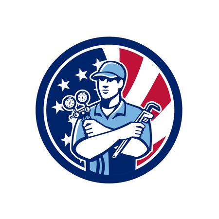 Ilustración de Icon retro style of an American serviceman holding manifold gauge - Imagen libre de derechos