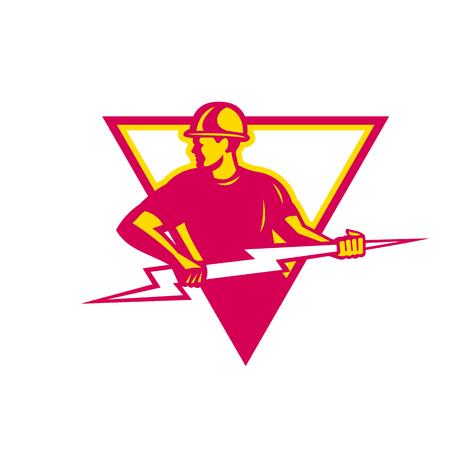 Illustration pour Retro style of a electrician holding a lightning bolt - image libre de droit