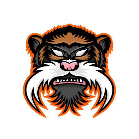 Ilustración de Mascot icon of an emperor tamarin - Imagen libre de derechos