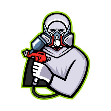 Illustration pour Mascot icon illustration of an Industrial Spray Painter holding spray paint and wearing mask or paint respirator viewed from front on isolated background in retro style. - image libre de droit
