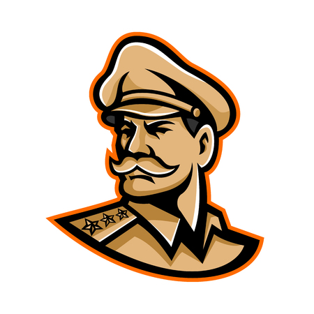 Ilustración de Mascot icon illustration of head of an American three-star general wearing a peaked cap looking forward viewed from side on isolated background in retro style. - Imagen libre de derechos