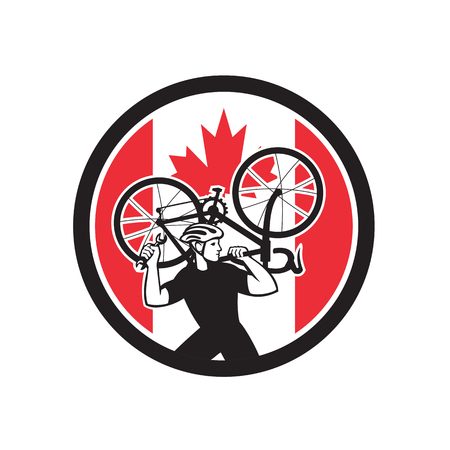 Illustrazione per Icon retro style illustration of a Canadian bike mechanic lifting road bicycle with Canada maple leaf flag set inside circle on isolated background. - Immagini Royalty Free