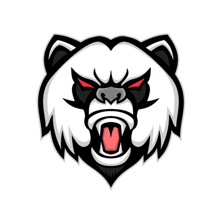 Illustration pour Mascot icon illustration of head of an angry giant panda or panda bear, a bear native to south central China viewed from front on isolated background in retro style. - image libre de droit