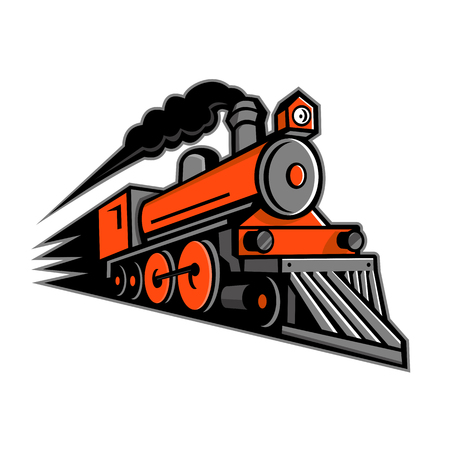 Ilustración de Mascot icon illustration of a vintage steam locomotive or train speeding in full speed coming up the viewer on isolated background in retro style. - Imagen libre de derechos