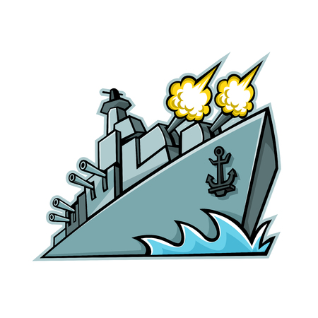 Illustration for Mascot icon illustration of an American destroyer, warship or battleship with cannons firing viewed from a low angle on isolated background in retro style. - Royalty Free Image