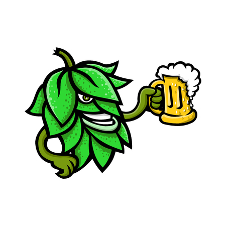 Ilustración de Mascot icon illustration of a beer hops, flower or seed cones or strobiles of the hop plant drinking a mug of ale  viewed from side on isolated background in retro style. - Imagen libre de derechos