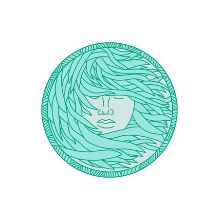 Ilustración de Mono line illustration of a face of a Polynesian woman with flowing sea kelp hair viewed from front set inside circle done in monoline style. - Imagen libre de derechos