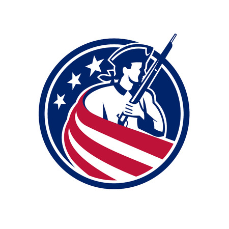 Ilustración de Mascot icon illustration of an American patriot, minuteman, revolutionary soldier with musket rifle draped in USA stars and stripes star spangled banner flag set inside circle done in retro style. - Imagen libre de derechos