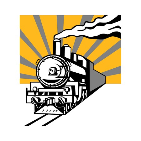Illustration pour Retro style illustration of a vintage steam engine train or locomotive going towards the viewer with sunburst in background on isolated background. - image libre de droit
