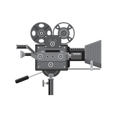 Illustration pour Retro style illustration of vintage movie film camera or cinema camera viewed from side on isolated background. - image libre de droit