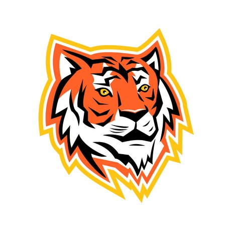 Illustration pour Sports mascot icon illustration of a head of Bay of Bengal tiger, a Mainland Asian tiger looking to side on isolated background in retro style. - image libre de droit