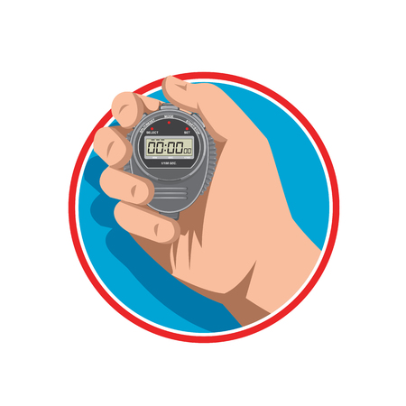 Ilustración de Retro style illustration of a hand holding a digital stopwatch or timer and counting up to one millisecond on isolated background. - Imagen libre de derechos