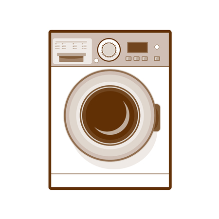 Ilustración de Retro style illustration of a  front loading washing machine in washing mode on isolated background. - Imagen libre de derechos