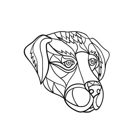 Ilustración de Mosaic low polygon style illustration of a labrador or golden retriever dog head looking to side on isolated white background in black and white. - Imagen libre de derechos