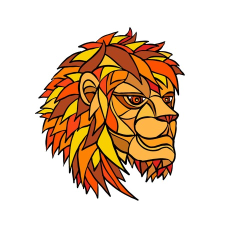 Ilustración de Low polygon or mosaic style illustration of a head of an adult male lion with full mane looking to side on isolated background. - Imagen libre de derechos