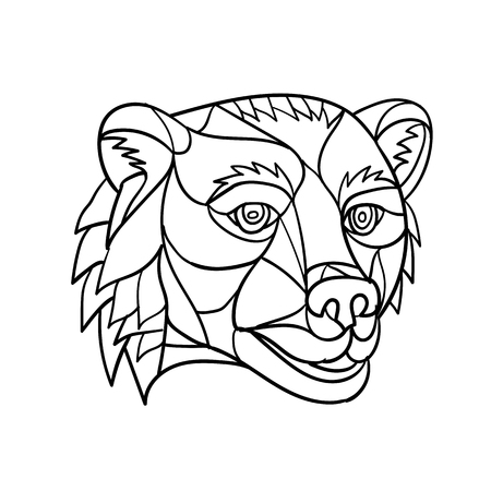 Ilustración de Low polygon mosaic style illustration of a grizzly bear or brown bear head on isolated background in black and white. - Imagen libre de derechos