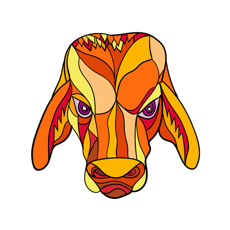 Ilustración de Mosaic low polygon style illustration of a brahma bulll head viewed from front on isolated white background done in color. - Imagen libre de derechos