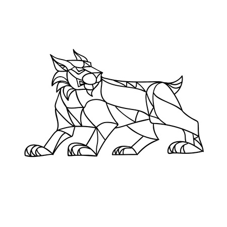 Ilustración de Mosaic low polygon style illustration of a bobcat, Eurasian lynx, Canada or Iberian lynx prowling viewed from side on isolated white background in black and white. - Imagen libre de derechos