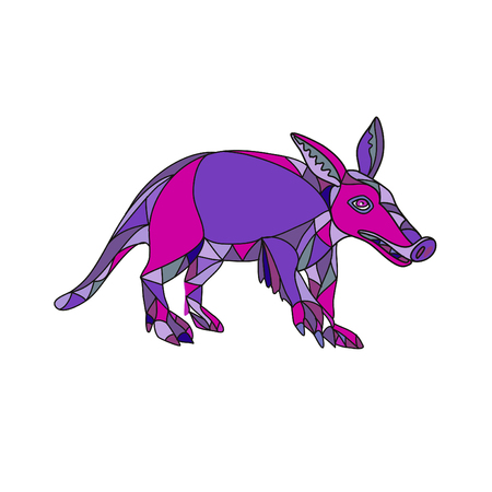 Ilustración de Mosaic low polygon style illustration of an aardvark, a medium-sized, burrowing, nocturnal mammal that is an insectivore with a long pig-like snout on isolated white background in color. - Imagen libre de derechos