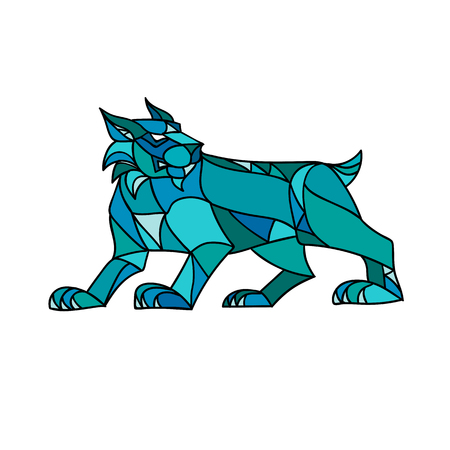 Ilustración de Mosaic low polygon style illustration of a bobcat, Eurasian lynx, Canada or Iberian lynx prowling viewed from side on isolated white background in color. - Imagen libre de derechos