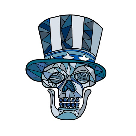 Ilustración de Mosaic low polygon style illustration of head of a skull of Uncle Sam mascot wearing an American stars and stripes top hat viewed from front on isolated white background in color. - Imagen libre de derechos
