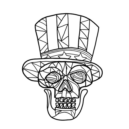 Ilustración de Mosaic low polygon style illustration of head of a skull of Uncle Sam mascot wearing an American stars and stripes top hat viewed from front on isolated white background in black and white. - Imagen libre de derechos