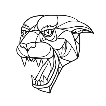 Ilustración de Mosaic low polygon style illustration of head of an aggressive and angry black panther, jaguar or cougar growling on isolated white background in Black and White. - Imagen libre de derechos