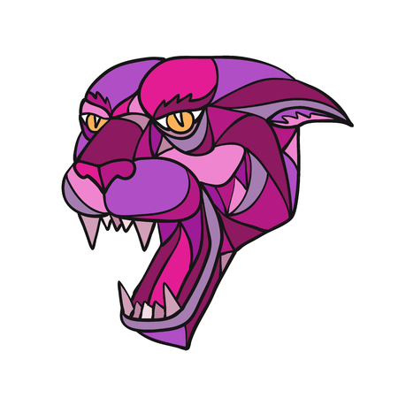Ilustración de Mosaic low polygon style illustration of head of an angry and aggressive jaguar, black panther or cougar growling on isolated white background in color. - Imagen libre de derechos