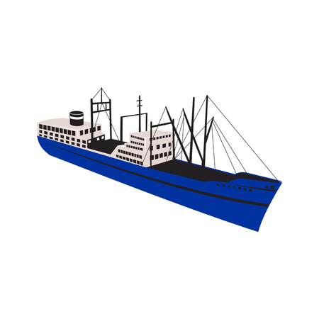 Illustration for Retro style illustration of a  vintage cargo, merchant or passenger ship ocean liner viewed from high angle on isolated background. - Royalty Free Image