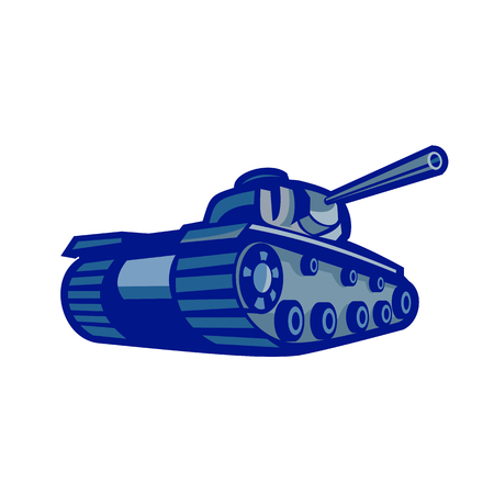 Illustration for Retro style illustration of an American world war two battle tank pointing its gun to side viewed mfrom low angle on isolated background. - Royalty Free Image