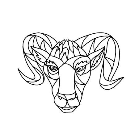 Ilustración de Mosaic low polygon style illustration of a head of a bighorn sheep ram viewed from front on isolated white background in black and white. - Imagen libre de derechos