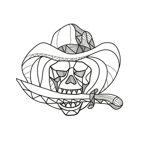 Ilustración de Mosaic low polygon style illustration of a cowboy pirate skull wearing a hat biting a dagger, knife or sword viewed from front on isolated white background in color. - Imagen libre de derechos