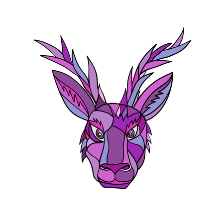 Illustration pour Mosaic low polygon style illustration of head of a jackalope, a mythical animal of North American folklore, described as a jackrabbit with antelope horns on isolated white background in color. - image libre de droit