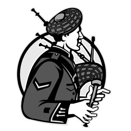 Illustration pour Illustration of a scotsman bagpiper playing bagpipes viewed from side set inside circle on isolated white background done in black and white grayscale retro style. - image libre de droit