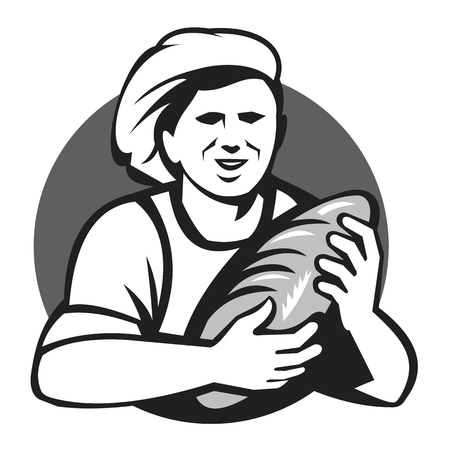 Illustration pour Illustration of a female baker chef cook holding loaf of bread set inside circle done in black and white grayscale retro style. - image libre de droit
