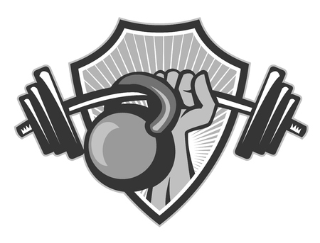 Illustration pour Illustration of a hand lifting weights barbell kettlebell set inside shield crest done in black and white grayscale retro style. - image libre de droit