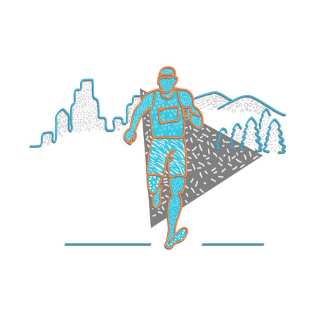 Illustration for 1980s Memphis style design illustration of a marathon runner running with buildings and mountains behind him on isolated background. - Royalty Free Image