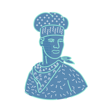 Illustration for 1980s Memphis style design illustration of a chef, cook or baker wearing a scarf or bandana looking to side on isolated background. - Royalty Free Image