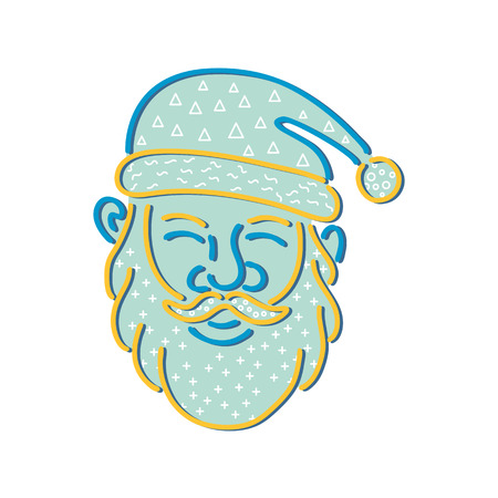 Illustration for 1980s Memphis style design illustration of Santa Claus, Kris Kringle or Saint Nick viewed from front on isolated background. - Royalty Free Image