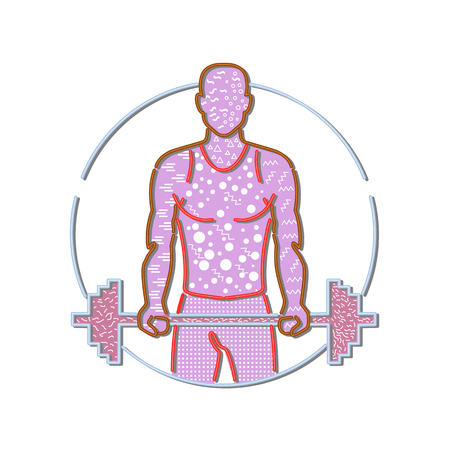 Illustration for 1980s Memphis style design illustration of personal trainer lifting a barbell viewed from front set inside circle on isolated background. - Royalty Free Image