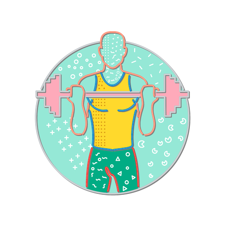 Illustration for 1980s Memphis style design illustration of an athlete or weightlifter lifting a barbell viewed from front set inside circle on isolated background. - Royalty Free Image