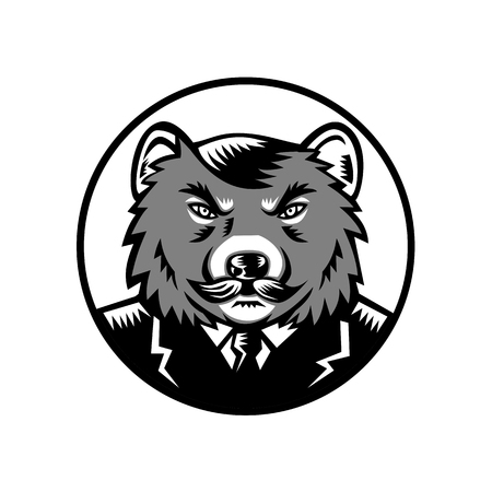 Illustration pour Retro woodcut style illustration of an angry Tasmanian devil with moustache wearing business suit coat and tie set inside circle viewed from front on isolated background done in grayscale. - image libre de droit