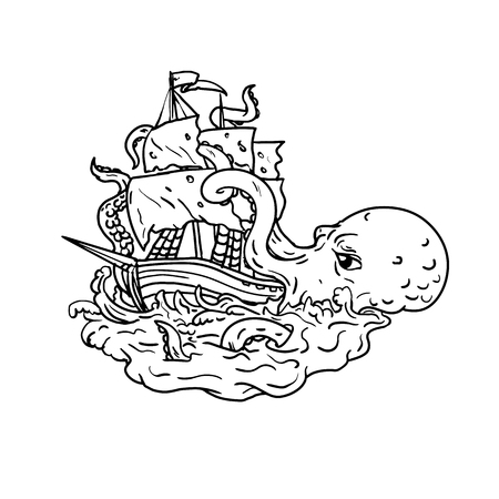 Illustrazione per Doodle art illustration of a kraken, a legendary cephalopod-like giant sea monster attacking a sailing ship with its tentacles on sea with tumultuous waves done in  black and white drawing style. - Immagini Royalty Free